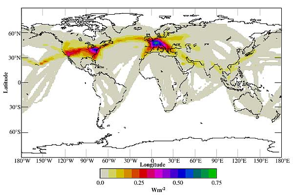 Global distribution of net instantaneous radiative forcing at the top of atmosphere in daily and annual average for present (1992) climatic conditions, analyzed contrail cover, and 0.55-µm optical depth of 0.3 (Minnis et al., 1999).
